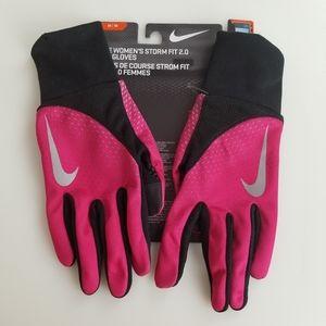 Nike Women's Storm Fit 2.0 Run Gloves Pink & Black